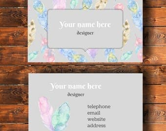 Printable business card, feathers watercolour design