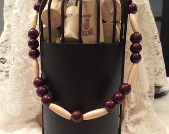 New beautiful wooden beaded necklace