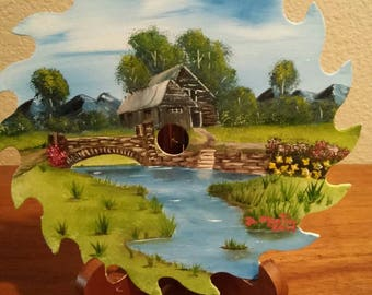 Hand painted saw blade Country bridge and cabin, Country bridge and shack, Country living, Old rock bridge and wall