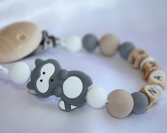 Grey Raccon Personalised Wooden Dummy Clip/BPA Free/Non Toxic Silicone Beads/Chain/holder