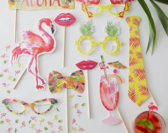 Flamingo Party Photo Booth Props, Birthday Party Photo Props, BBQ Party Photo Props, Summer Party Photo Props, 10 Props
