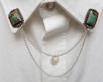 Turquoise Collar Pin Set