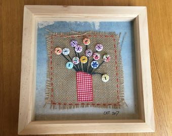 Upcycled textile & button hand stitched flowers in vase - framed