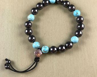 Men's hematite and turquoise bracelet