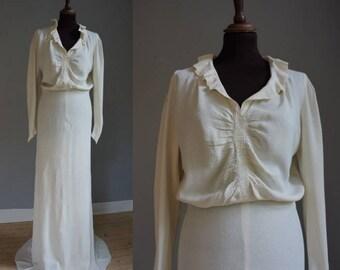 1930s Crepe Silk Wedding Gown