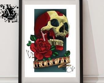A3 - Ironman Skull Tattoo Print