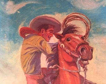 Vintage Cowboy Oil Painting / Western Art Cowboy and Horse Painting / Original Signed 1950's Art