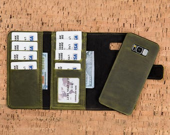 Galaxy S8 Wallet, Green Leather S8 Plus Case, Samsung Galaxy S8 Plus Leather Wallet Case, Leather Galaxy S8 Case, Galaxy S8 Plus Case-GREEN