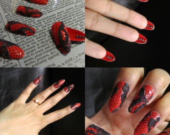 KISAI nails ready to wear, Black Lace, Red