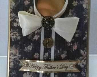 Free shipping - Father's Day card, 3D card with vintage Shabby chic look