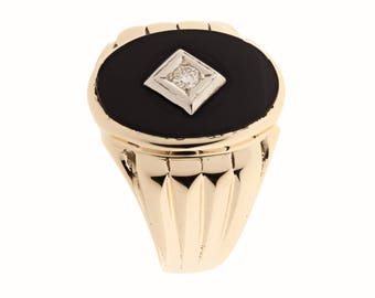 10K Onyx Diamond Ring