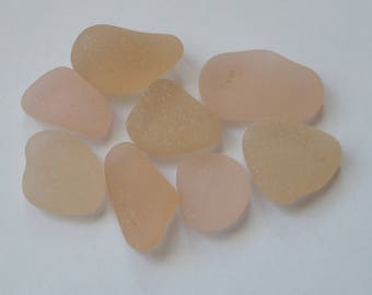 8 glasses of sea tones pink French / french sea glass