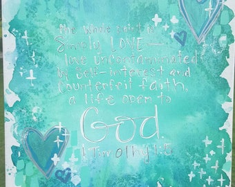 Simply Love with God 12x12 canvas
