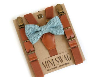 Blue Burlap Bow Tie, Rustic Wedding Bow Tie, Ring Bearer Outfit, Leather Suspenders, Toddler Suspenders, Boys Bow Tie and Suspender Set