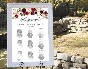 Wedding Seating Chart, Wedding seating chart poster, Wedding Table seating, Wedding seating chart, Navy seating chart, Find Your Seat, #150