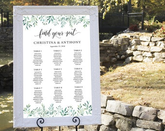 Greenery Wedding Seating Chart, Wedding Seating Chart, Wedding Table seating, wedding seating chart alphabet, seating chart template, SC167