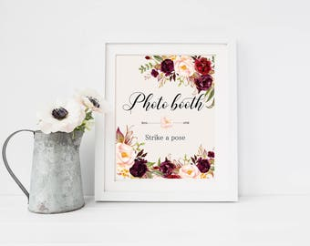 Photo booth Wedding Sign Digital Floral Marsala Burgundy Peonies Wedding Boho Printable Bridal Decor Gifts Poster Sign 5x7 and 8x10 - WS-024
