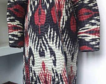 SALE!!! A Handwoven Ikat Adras Cotton Chapan (a Traditional Uzbek Robe) from Uzbekistan.