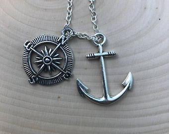 Anchor and compas necklace