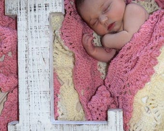 Two toned hand crochet baby afghan, baby afghan, crochet baby afghan, baby shower gift, handmade baby blanket, handmade baby afghan