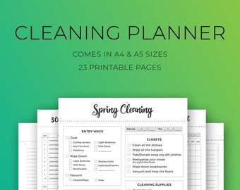 Cleaning planner kit, Printable cleaning, Spring cleaning, Daily cleaning schedule, 30 day cleaning challenge, Weekly cleaning, A4, A5