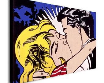 The Kiss Pop Art Roy Lichenstein Canvas Wall Art Print - Various Sizes