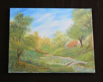 A Pond by Which to Picnic - Oil painting on canvas