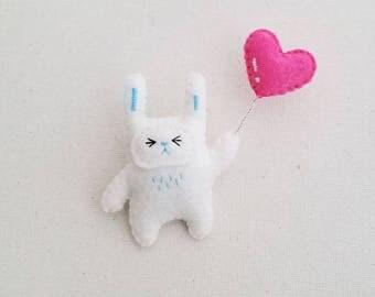 Bunny With Heart Ballon Brooch