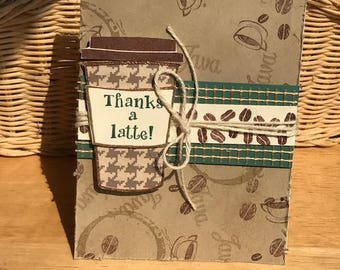 Thanks a Latte card, coffee themed card, coffee card