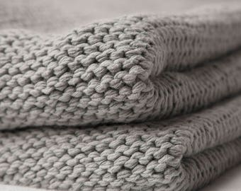 Knitted Grey Blanket