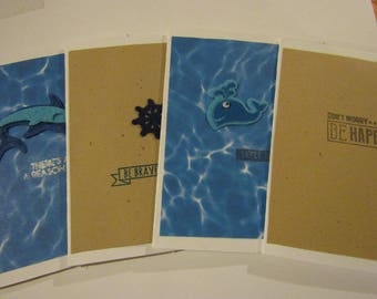 Nautical Cards Set ~ Gift for ocean lover ~ Set of 4 Cards