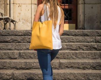 Yellow tote bag, Yellow leather tote, Full grain leather tote, Tote bag leather, Women's purse, Tote bag, Leather Market Bag - VENEZIA Bag