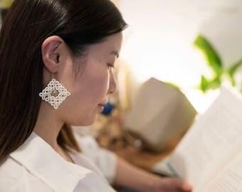 Tatted Earrings, Handmade Earrings, Lace, Tatting Lace, Tatting