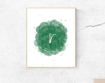Letter R green watercolor, wall art, printable art, monogram, initial, letter, instant download