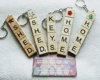 Handmade Scrabble Tile Key Rings, Zipper charms, Key fobs, bag charms.