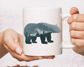 Black bear Ceramic Mug Gift Coffee Mug Personalised Tea Cup