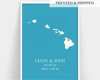 Hawaii Map Print, Wedding Gift Hawaii Map, Custom Wedding Gift, Newlywed Gift, Personalized Wedding Gift, Engagement Gift, Any State Print