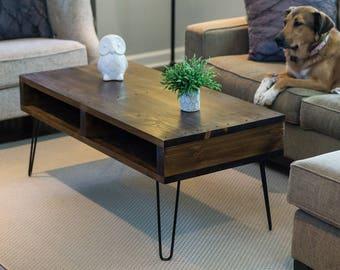Pallet Inspired Coffee Table   Modern Rustic Mid Century   Dark Walnut  Finish