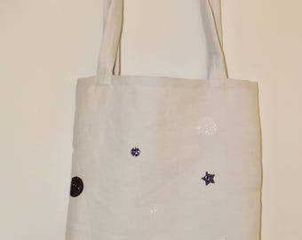Cotton tote bag stars and glitter circles