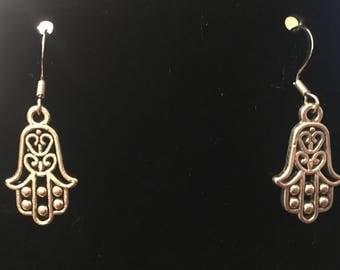 Silver Hamsa Dangle Earrings