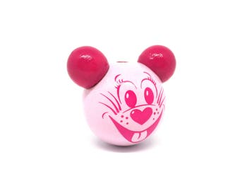 Wooden 3D Rose Tendre mouse head bead