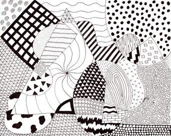 Geometric Print of Hand Drawn Original Artwork - #1