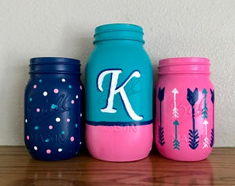 monogram mason jar set turquoise pink and navy decor girls room shabby chic