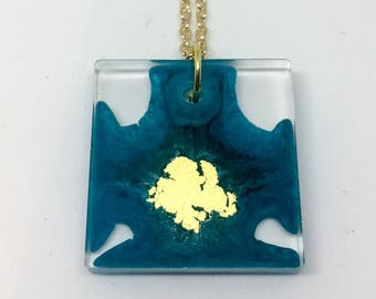 Teal and Gold Square Pendant