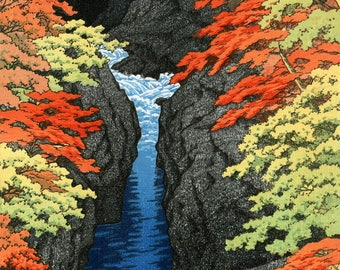 "Japanese Art Print ""Azuma Gorge"" by Kawase Hasui, woodblock print reproduction, cultural art, Asian art, Autumn, leaves, mountain, stream"