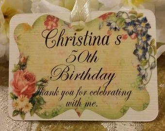 20 PERSONALISED Vintage Style Birthday Tags, 50th Birthday Tags, Anniversary Tags