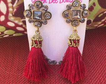 Red Crimson Tassle Antique Gold Crystal Earrings  Pierced