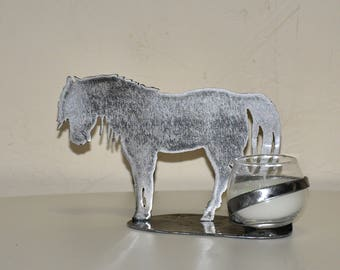 candle holder metal horse silhouette horse, pony