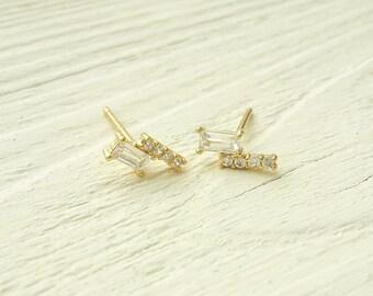 Bar CZ earrings gold bar earrings yellow gold, 925 Sterling Silver earrings, wedding earrings, Bridal earrings, elegant earrings