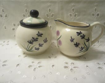 Sakura Made in China Herb Garden Creamer and Sugar Decorated by  Leslie Beck